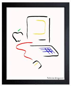 Illustration Apple Mac Picasso 30x40 cm
